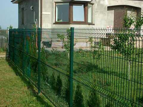 Зелёный забор из евросетки (3Д забор) на дачном участке в Евпатории
