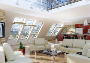 мансардные окна в интерьере коттеджа на берегу моря в Керчи